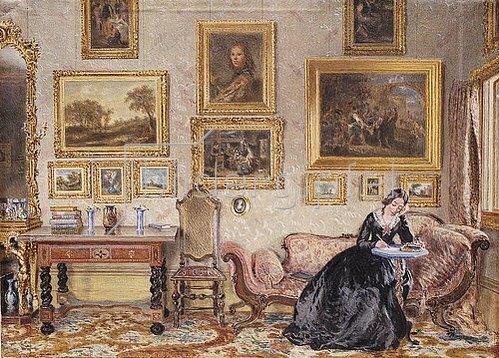 William Henry Hunt: Schreibende Dame im Salon.