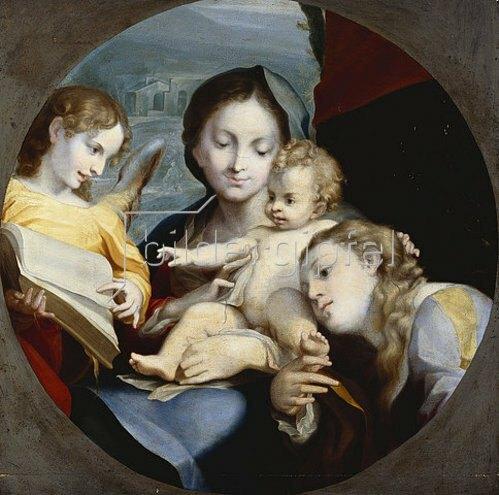 Correggio (Antonio Allegri): Madonna mit Kind, der hl. Katharina und einem Engel.