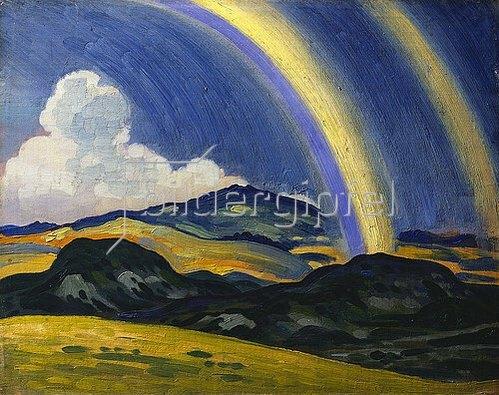 Derwent Lees: Der Regenbogen, Landschaft in Wales.