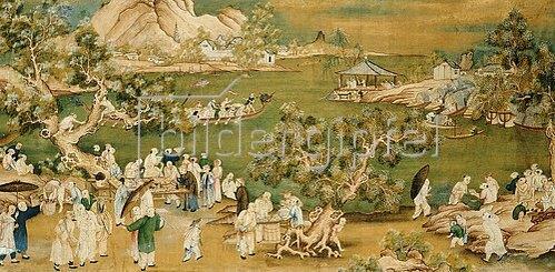 Chinesisch: Feierlichkeiten an einem See. Um 1800