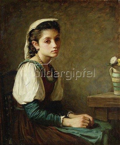 John William Waterhouse: Bildnis eines Mädchens mit einer Vase Gänseblümchen.
