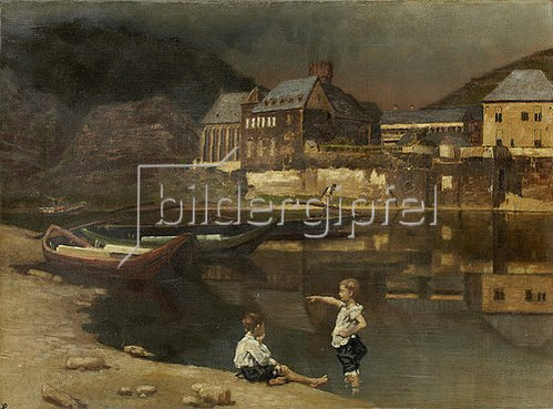 Karl M. Pidoll zu Quintenbach: Landschaft in Luxemburg (Ort am Fluß). 1889