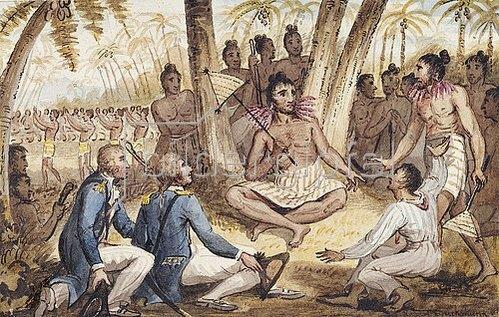 Robert Isaak Cruikshank: Einer von 13 Drucken aus: Die Reisen des Captain Cook.