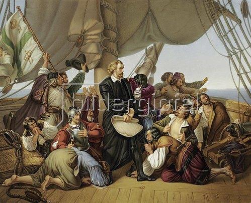 Unbekannter Künstler: Christopher Kolumbus auf seinem Schiff.