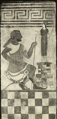 Etruskisch: Bemalte Terrakotta-Platte mit Figuren aus Cerveteri.