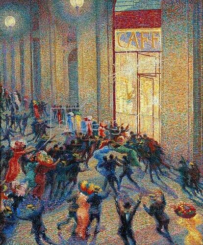 Umberto Boccioni: Aufruhr in der Galerie. 1909