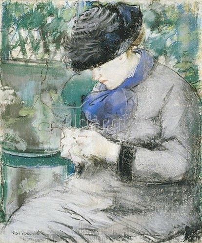 Edouard Manet: Mädchen, im Garten sitzend oder: Das Stricken. 1879