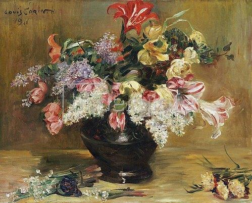 Lovis Corinth: Amaryllis, Flieder und Tulpen. 1911