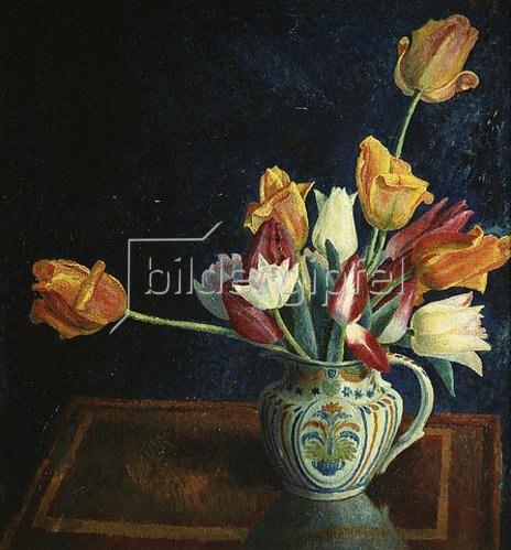Dora Carrington: Tulpen in einem bemalten Krug.