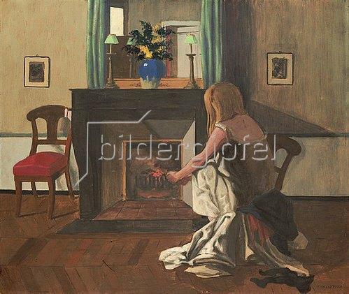 Felix Vallotton: Frierendes Mädchen vor einem Kamin. 1899