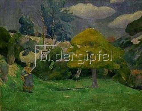 Paul Serusier: Bretonin, zum Waschplatz schreitend (Bretonne descendant au lavoir). 1890.
