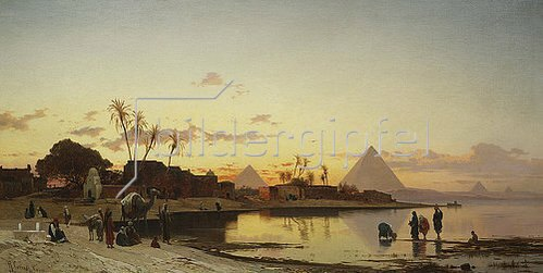 Hermann David Salomon Corrodi: Sonnenuntergang am Nil, Kairo.