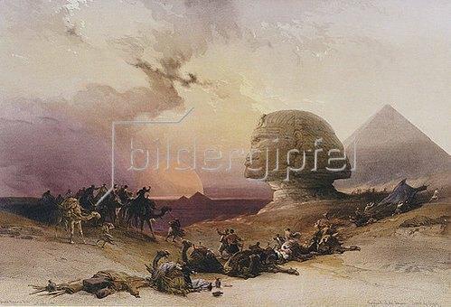 David Roberts: Beginnender Sturm in der Wüste bei den Pyramiden von Gizeh.