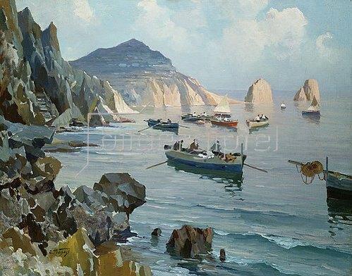 Edward Henry Potthast: Boote in einer felsigen Buch.