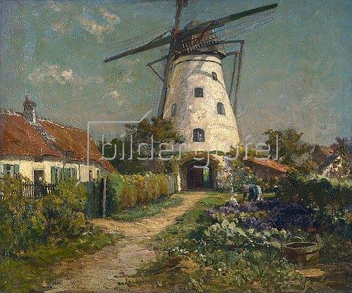 Evert Pieters: Bauerngarten bei einer Windmühle.