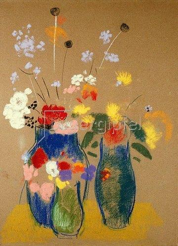 Odilon Redon: Drei Vasen mit Blumen. Um 1908-10