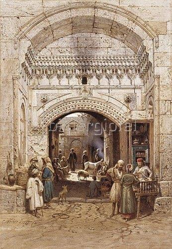 Carl Werner: Araber in einer Gasse in Kairo.