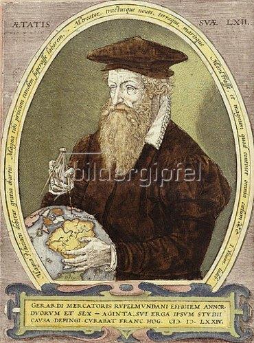 Bildnis von Gerhard Mercator. Aus: Atlas sive Cosmographicae Meditationes de Fabrica Mundi et Fabricati Figura. 1602