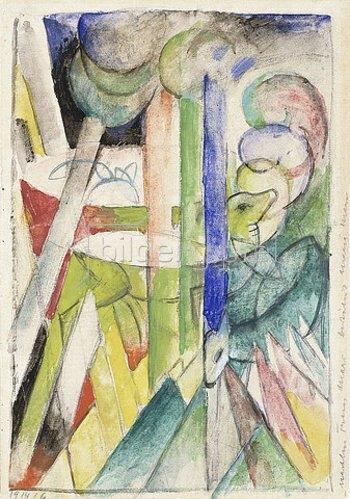 Franz Marc: Bergziegen. 1914 (siehe auch Bildnummer 4583)