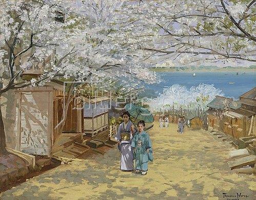 Theodore Wores: Kirschbaumblüte bei Sonnenschein, Nogeyama, Yokohama. 1893