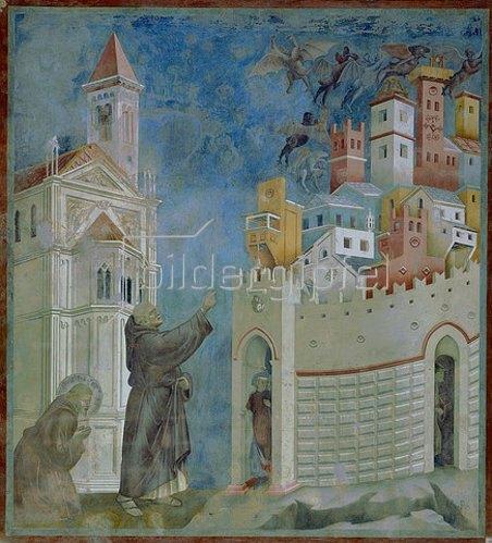 Giotto di Bondone: Die Vertreibung der Dämonen aus Arezzo. 1297-99
