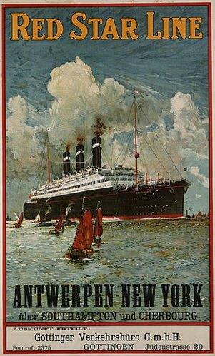 Unbekannter Künstler: Red Star Line, Antwerpen-New York. Um 1910