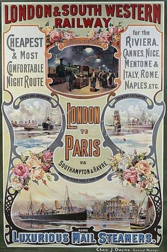 Unbekannter Künstler: Von London nach Paris. Um 1900 (Gedruckt bei Fred Nash & Co. Douglas Snowdon)