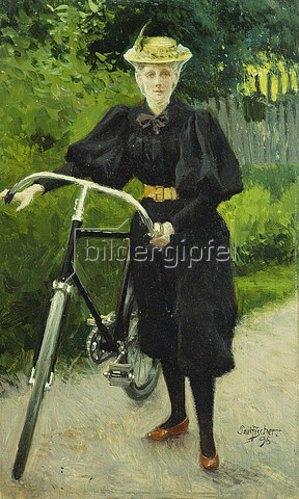 Paul Fischer: Eine Dame mit Fahrrad. 1896