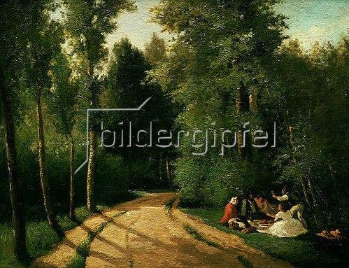 Camille Pissarro: Picknick in Montmorency. 1857