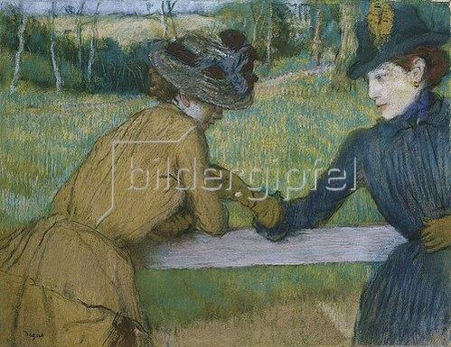 Edgar Degas: Zwei Frauen beim Gespräch an einem Zaun.