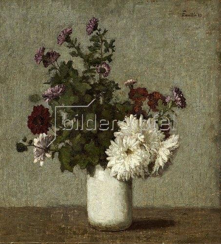 Henri de Fantin-Latour: Stilleben mit Herbstchrysanthemen in einer weißen Vase. 1889