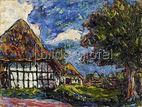 Ernst Ludwig Kirchner: Häuser auf Fehmarn. 1908