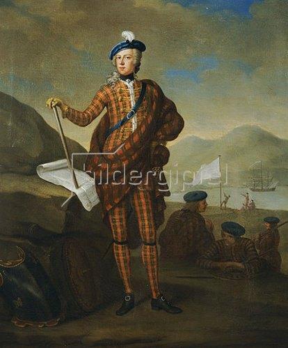 E. Gill: Harlequin Portrait von Prince Charles Edward Stewart (1720-1788),