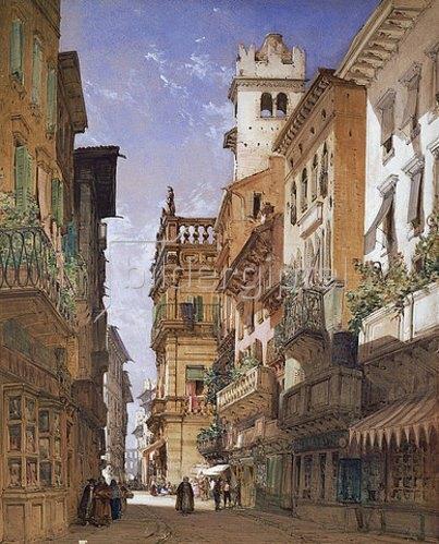 William Callow: Verona: Corso Sant' Anastasia und der Palazzo Maffei. 1855