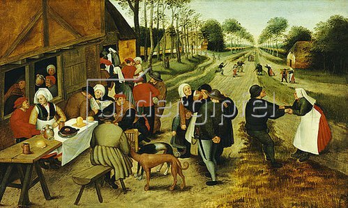 Pieter Brueghel d.J.: Bauern an einem Straßenausschank.