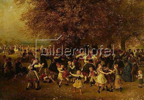 Ludwig Knaus: Das Kirchweihfest (Tanz unter den Linden vor einem hessischen Dorf). 1883