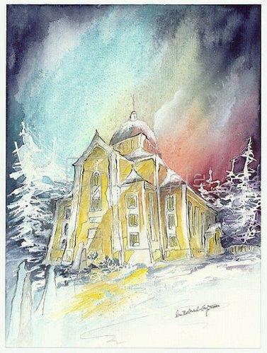 Annette Bartusch-Goger: Finnland - Polarlicht über der Holzkirche von Kerimäki. 2009