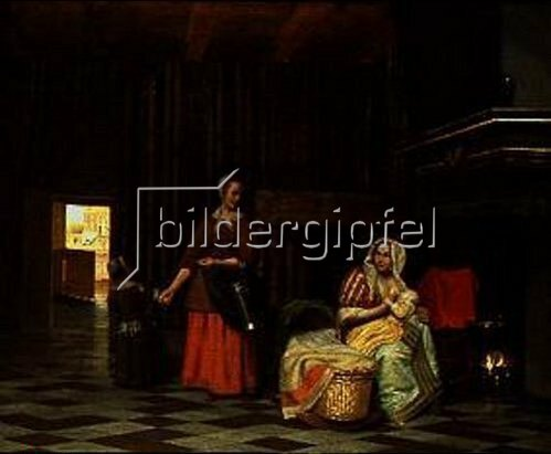 Pieter de Hooch: Frau mit Kind an der Brust und Dienst- magd. Um 1670/1675.