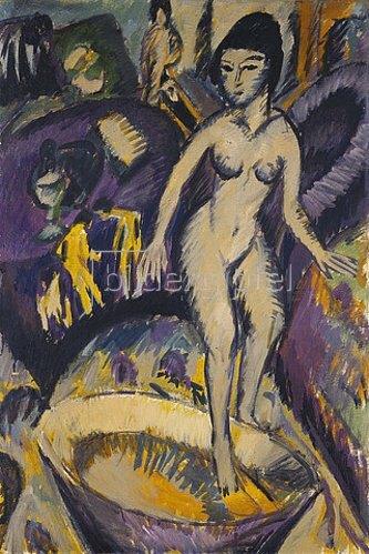 Ernst Ludwig Kirchner: Weiblicher Akt mit Badezuber. 1912