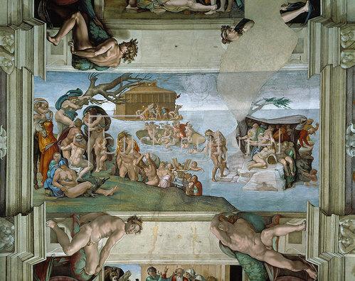 Michelangelo: Deckengemälde in der Sixtinischen Kapelle Rom: Die Sintflut. 1508-12