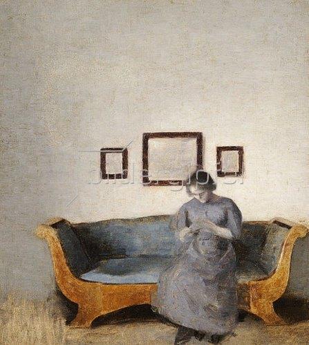 Vilhelm Hammershoi: Ida Hammershoi auf dem Sofa sitzend.