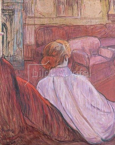 Henri de Toulouse-Lautrec: Frau auf einem roten Sofa.