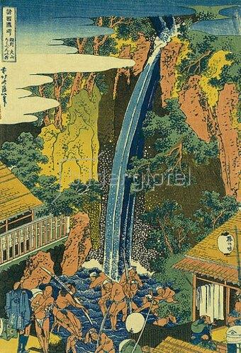 Katsushika Hokusai: Der Roben Wasserfall bei Ohyama in der Provinz Sagami. Pilger baden im Wasserfall. Aus der Serie: Eine Reise zu den Wasserfällen Japans.