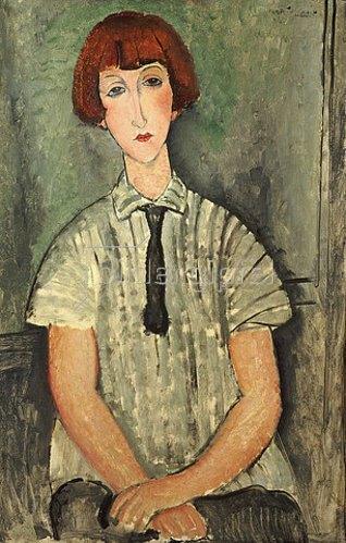 Amadeo Modigliani: Junges Mädchen in gestreiftem Hemd. 1917