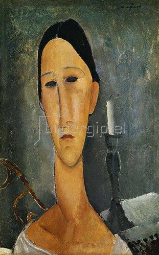 Amadeo Modigliani: Hanka Zborowska, im Hintergrund ein Kerzenständer. 1919