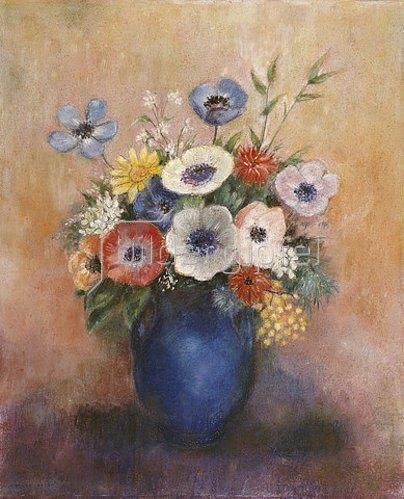 Odilon Redon: Blumen in einer blauen Vase.