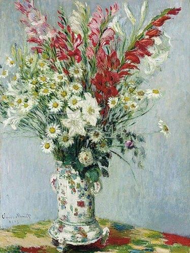 Claude Monet: Blumenstrauß aus Gladiolen, Lilien und Margeriten.  1878
