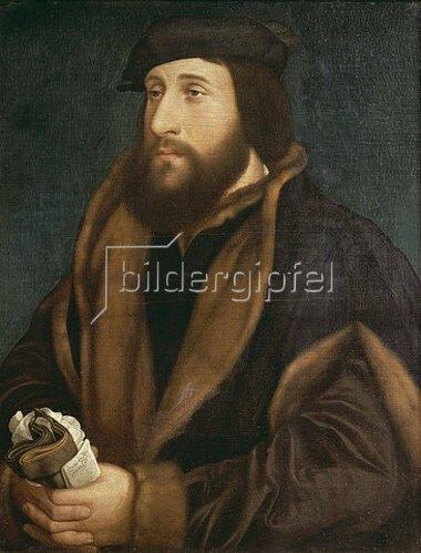 Hans Holbein d.J.: Unbekannter Mann mit Brief und Handschuhen. Um 1540