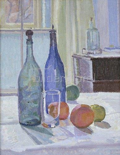 Spencer Frederick Gore: Stillleben mit blauen Flaschen und Orangen. Um 1914