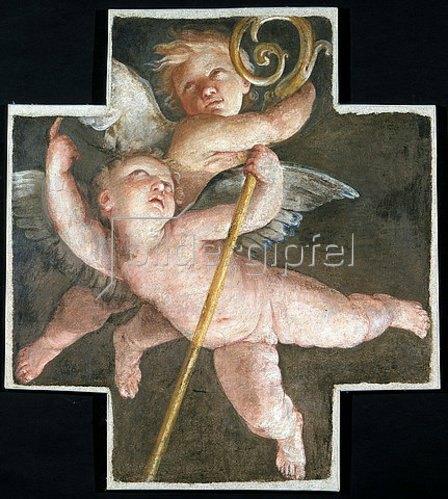 Guido Reni: Zwei Putten mit einem Bischofsstab.